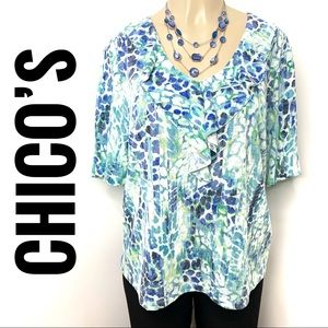 CHICO's Blue Green Abstract V-neck Top Ruffles 3